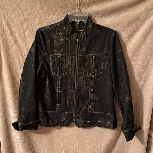 Coldwater Creek black & gold denim jacket 10P
